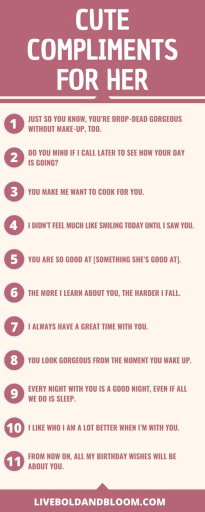 Dites à votre fille à quel point elle est merveilleuse en utilisant les bons mots. Lisez cette collection de compliments mignons pour les femmes, à partager avec votre petite amie ou votre partenaire.